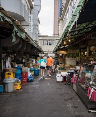 The stalls around the restaurants behind the wholesale fish market.