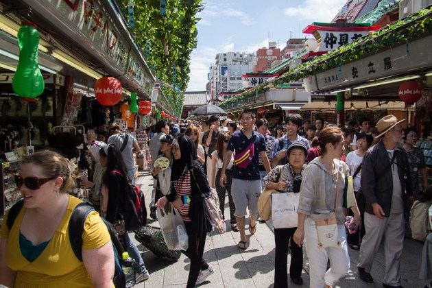 Nakamise market at the height of the day.