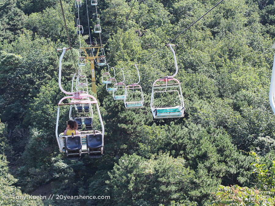 The chairlift up the hill