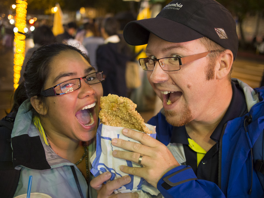 Chowing down at one of Taiwan's famous night markets