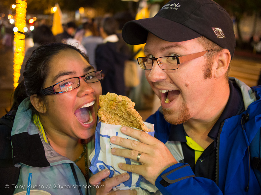 You know what they say: the couple that eats a giant chicken cutlet together stays together.