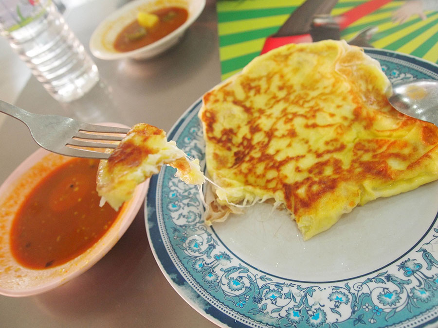Delicious, cheesy roti canai in Kuala Lumpur.