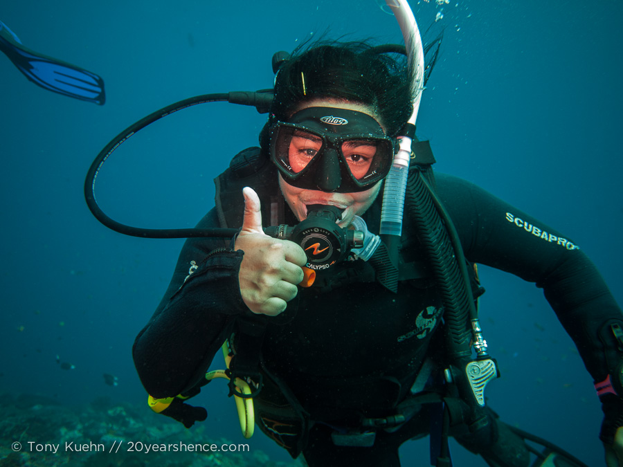 For our fellow divers out there, Steph did not actually intend to ascend after this shot...