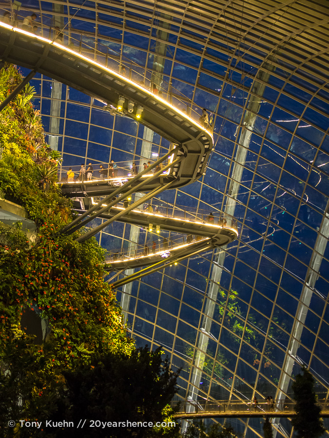 Cloud Forest at night, Gardens by the Bay, Singapore