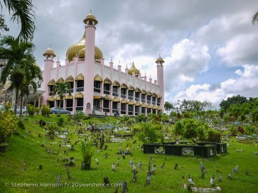 The pink mosque in Kuching, Malaysia