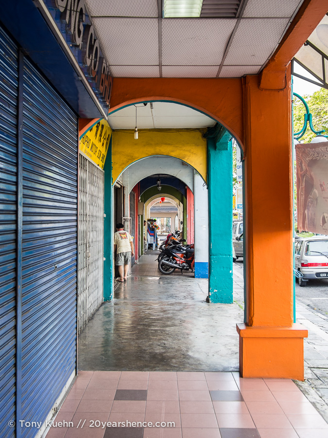 A colorful arcade in Kuching, Malaysia