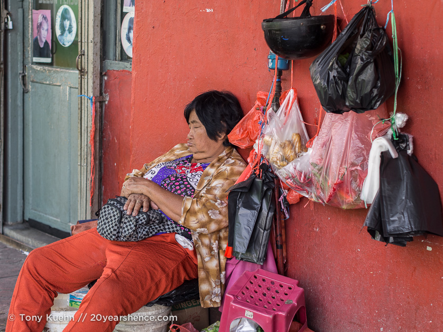 A woman sleeps in Kuching, Malaysia