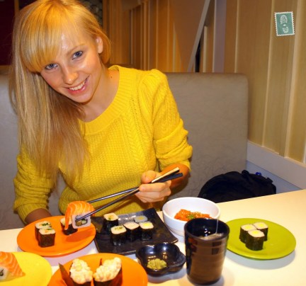 Agness of eTramping with sushi