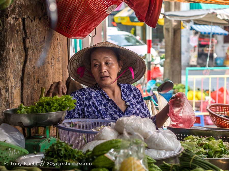 Vietnamese woman works in market