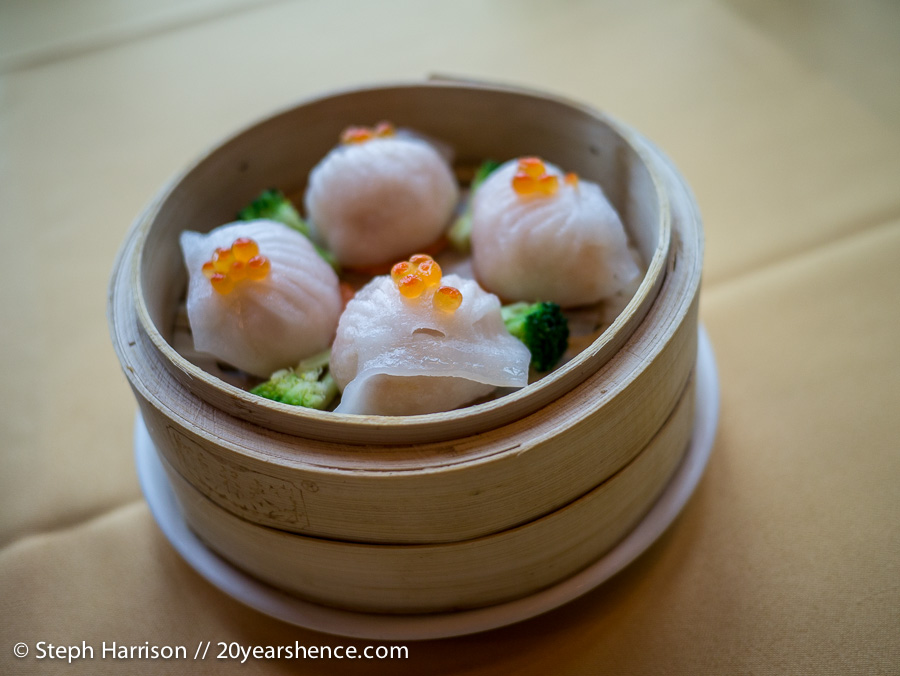 Steamed shrimp har gow dumplings