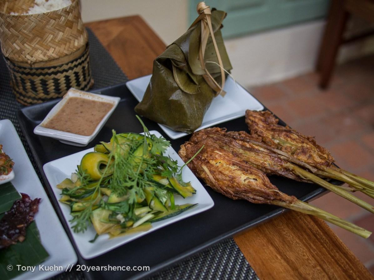 Herbed fish, lemongrass chicken, stir-fried pumpkin
