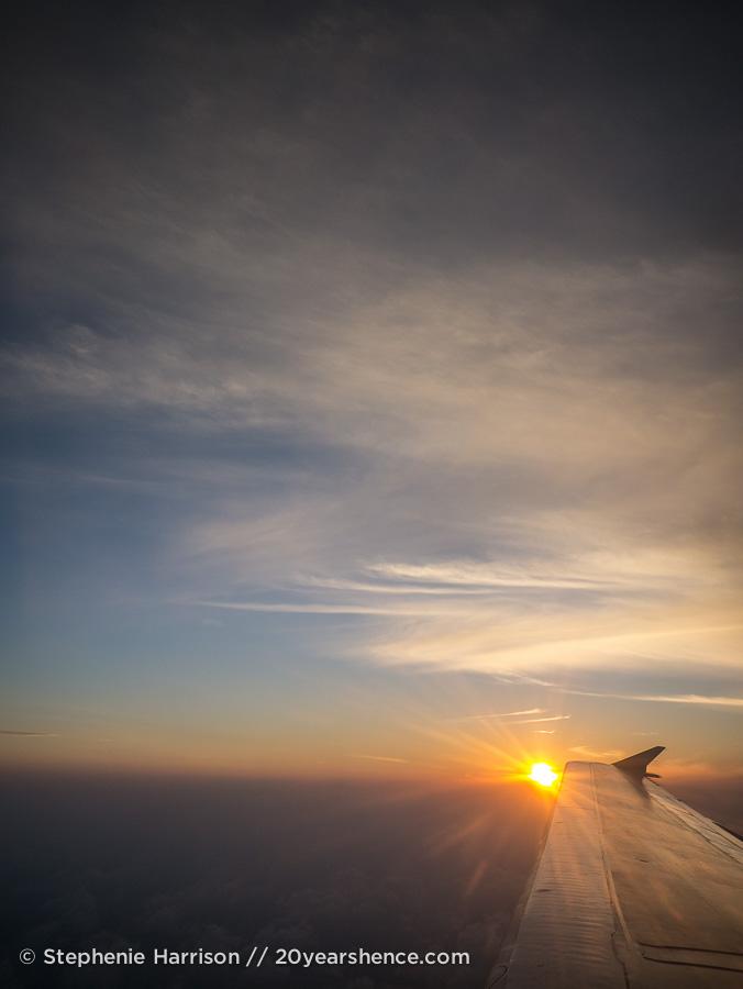 In an ariplane high above Sri Lanka