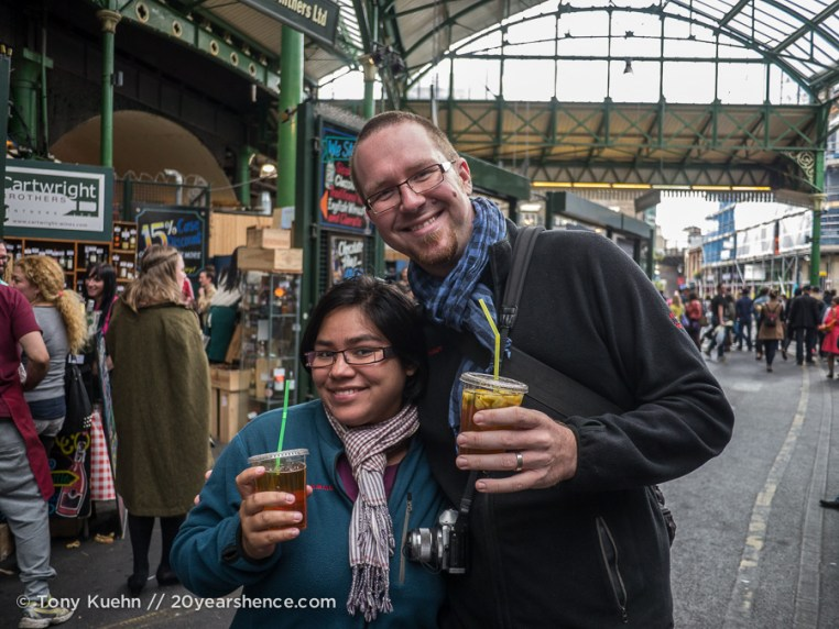 Steph and Tony enjoy a Pimm's cup in Borough Market, London