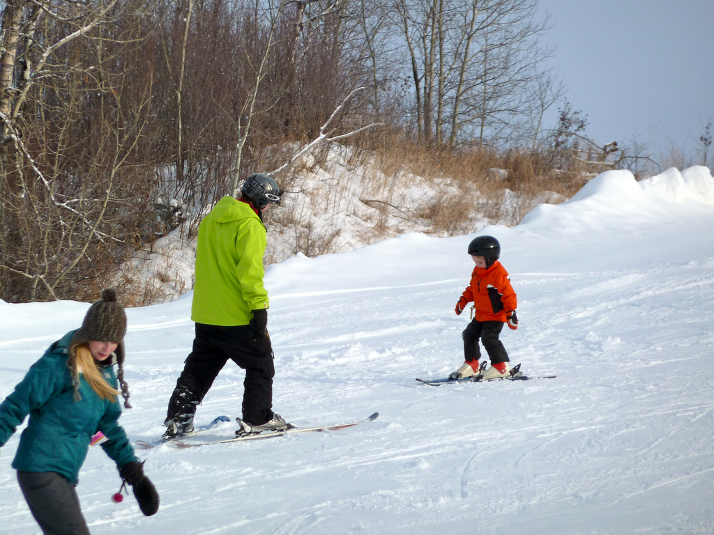 book ski lessons with the kids