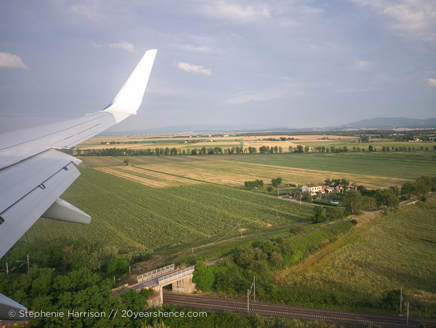 The fields of Tuscany, from our airplane window