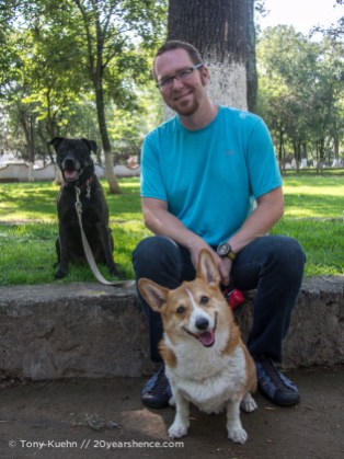 Tony, Rory and Emmy Lou in the park in Morelia