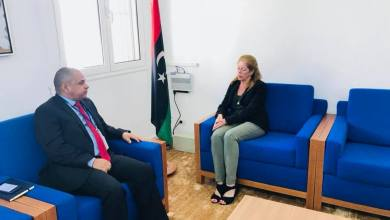 المدير التنفيذي للمؤسسة الليبية للاستثمار علي حسن و نائبة المبعوث الأممي إلى ليبيا ستيفاني وليامز
