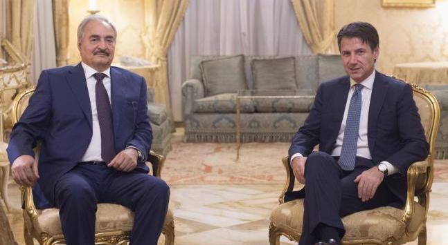 رئيس الوزراء الإيطالي جوزيبي كونتي وقائد الجيش الوطني المشير خليفة حفتر - ارشيفية