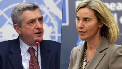 مفوضة الاتحاد الأوروبي للسياسة الخارجي فيديريكا موغيريني ومفوض الأمم المتحدة السامي لشؤون اللاجئين فيليبو غراندي