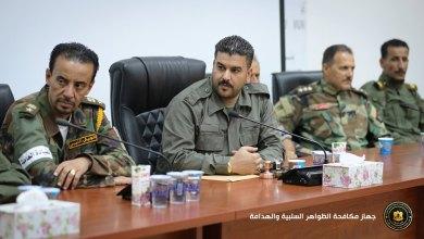 جهاز مكافحة الظواهر الهدامة في بنغازي مع ممثلين عن الوحدات العسكرية للجيش الوطني وجهاز الحرس البلدي وقسم المرور