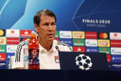 Soccer Football - Champions League - Olympique Lyonnais Press Conference - Jose Alvalade Stadium, Lisbon, Portugal - August 18, 2020 Olympique Lyonnais coach Rudi Garcia during a press conference UEFA Pool/Handout via REUTERS ATTENTION EDITORS - THIS IMAGE HAS BEEN SUPPLIED BY A THIRD PARTY. NO RESALES. NO ARCHIVES