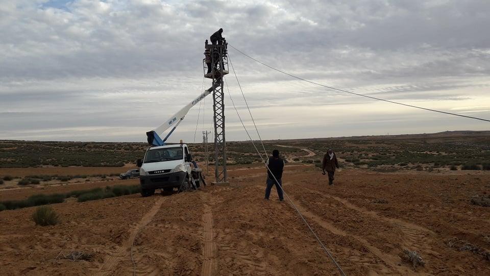 تعويض الأسلاك المسروقة وصيانة محطة كهرباء غوط الريح
