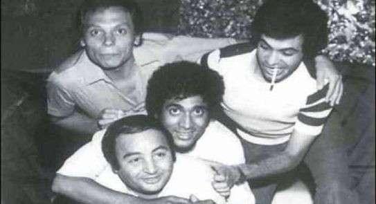 صورة للفقيد مع عادل إمام وأحمد زكي ويونس شلبي