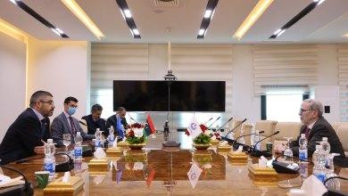 لقاء رئيس المؤسسة الوطنية للنفط مصطفى صنع الله مع سفير الاتحاد الأوروبي لدى ليبيا والوفد المرافق له