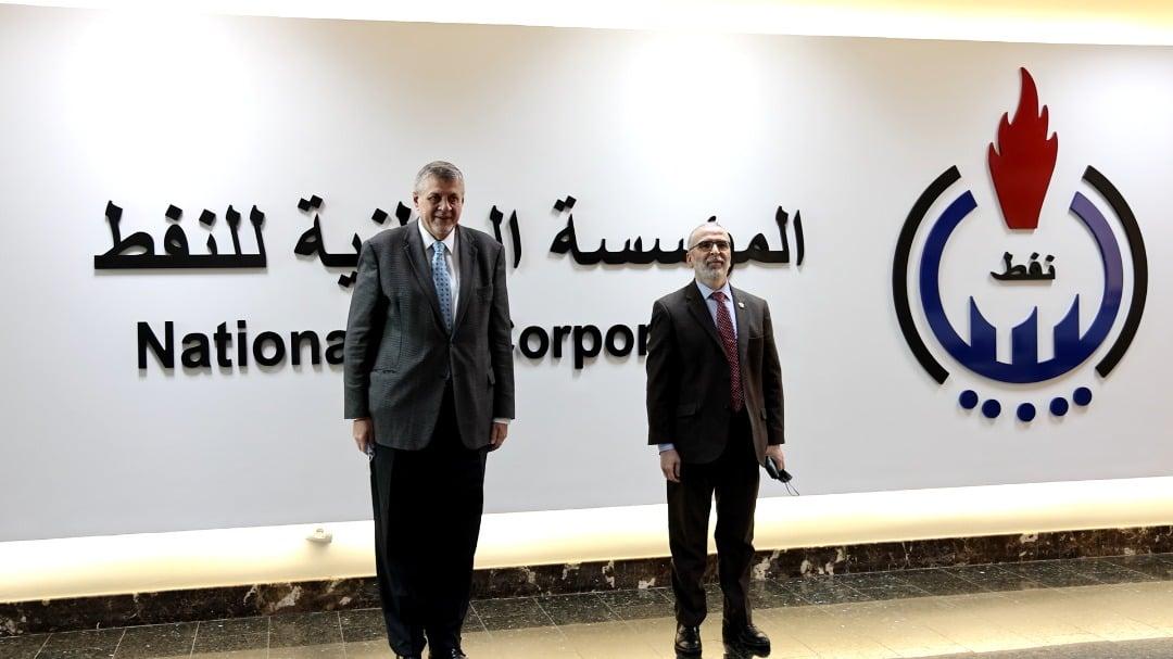 رئيس المؤسسة الوطنية للنفط، مصطفى صنع الله، مبعوث الأمم المتحدة الخاص بليبيا يان كوبيش