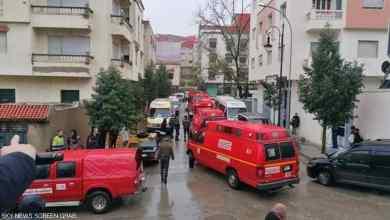 """قوات الأمن ورجال الإسعاف في الشارع الذي شهد واقعة مصرع عمال مصنع النسيج غرقاً -""""الصورة عن سكاي نيوز"""""""