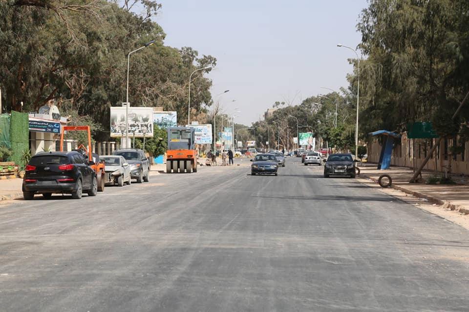 اتمام رصف 750 متراً من الطريق الدائري الثاني في بنغازي الرابط بين تقاطع مستشفى الأطفال ومركز شرطة الفويهات