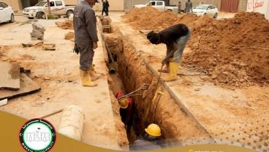 مدينة مصراتة.. معالجة الصرف الصحي في حي القوشي