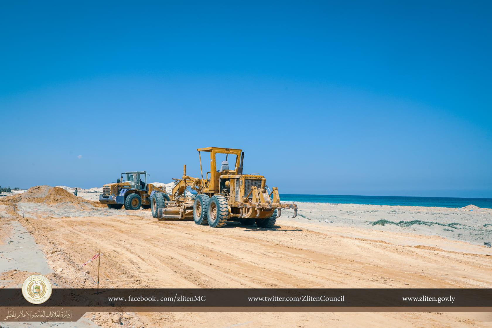 انطلاق مشروع تعبيد طريق الشط في زليتن