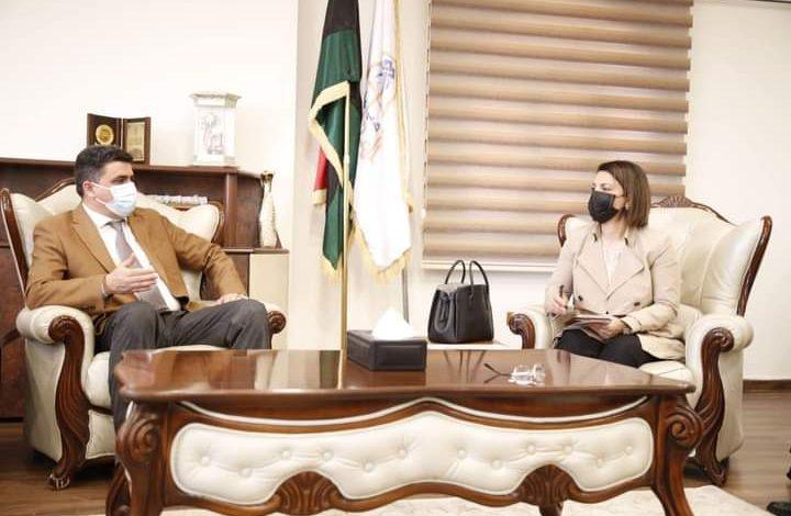 لقاء وزيرة الخارجية الليبية رجاء المنقوش مع خالد شكشك رئيس ديوان المحاسبة