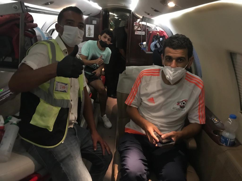 رحلة جهاز الإسعاف السريع الطائر المتجهة باللاعبين الليبيين إلى تركيا للعلاج من الملاريا