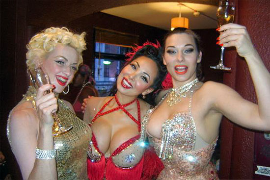 Kalani, Kitten Deville and Immodesty Blaize, during the Tease Show week in London this year...