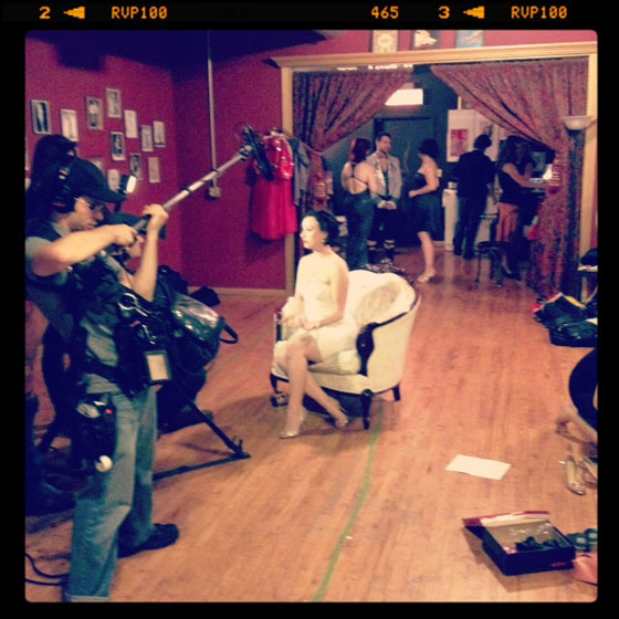 Michelle L'amour being interviewed by documentary film crew. Photo by Frenchie Kiss.