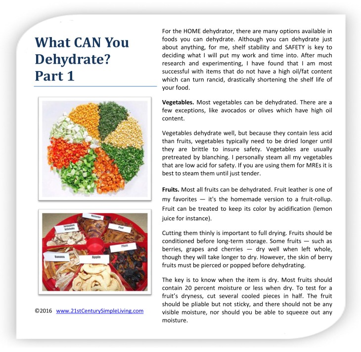 What CAN You Dehydrate-Part 1
