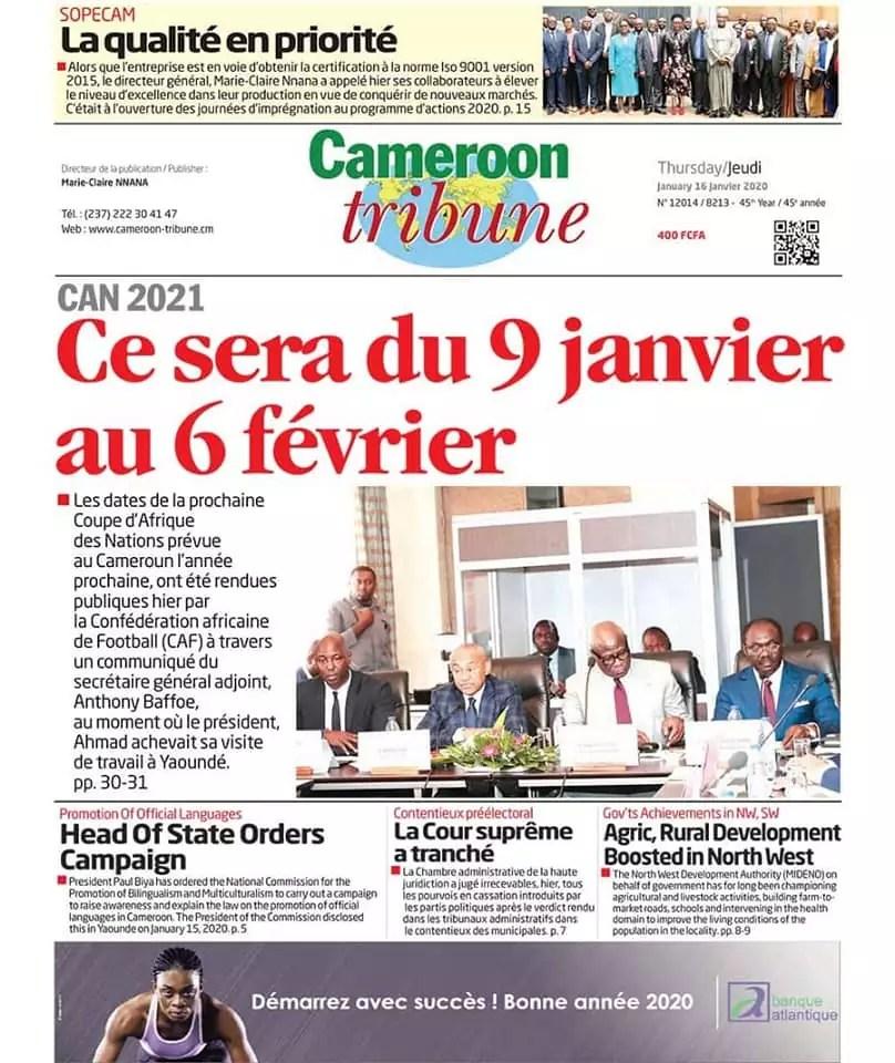 cameroon tribune du 16 janvier 2020