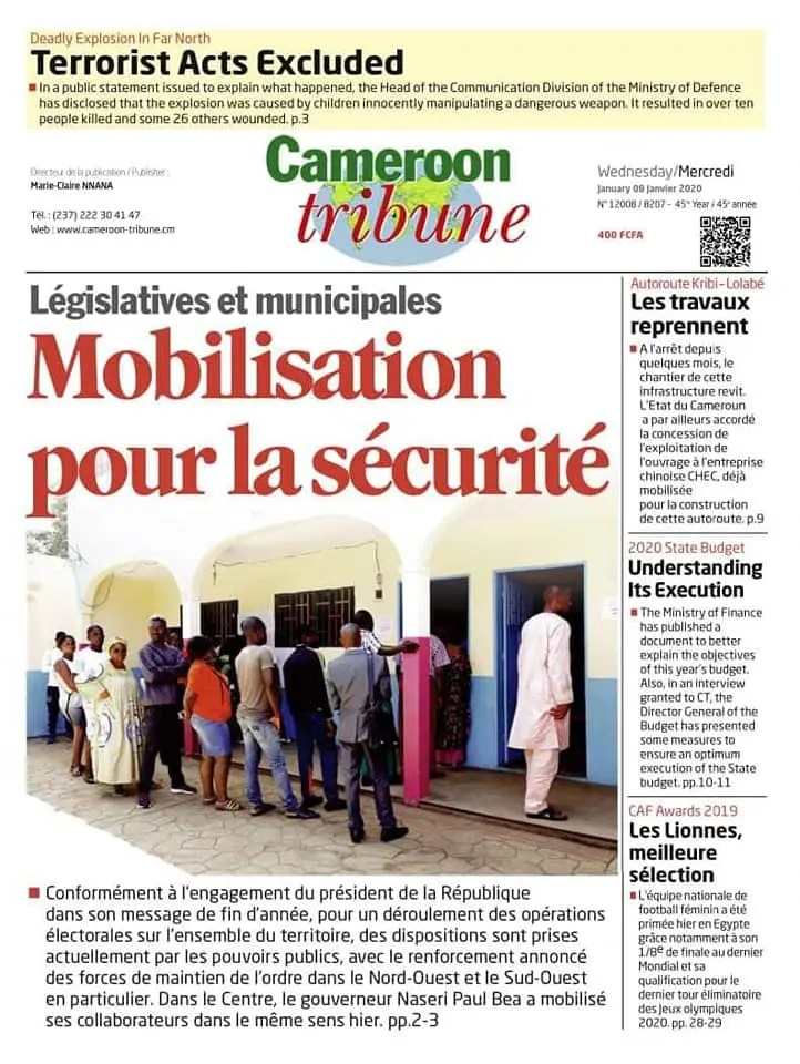 cameroun tribune du 08 janvier 2020