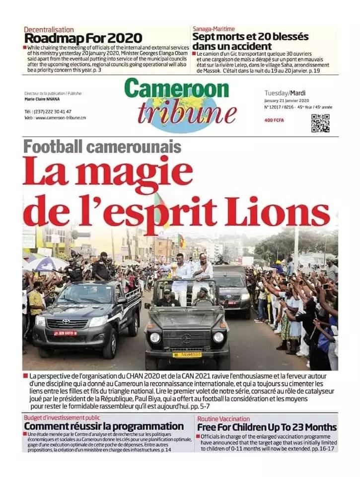 cameroun tribune du 21 janvier 2020