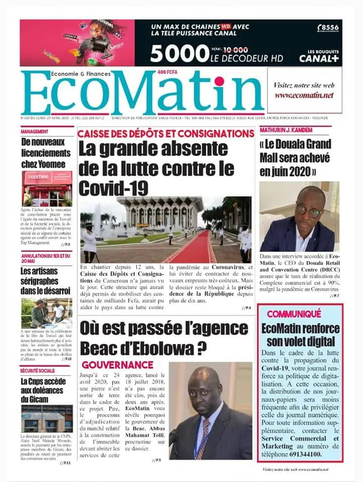 eco matin du 27 avril 2020