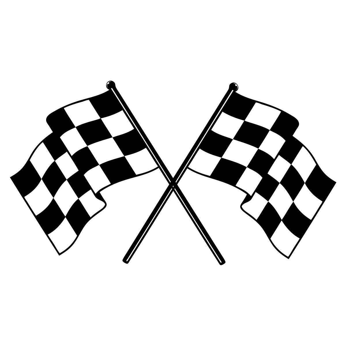 38 X 22 Checkered Race Flags Vinyl Bedroom Wall Art