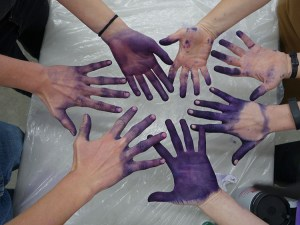 Purple hands