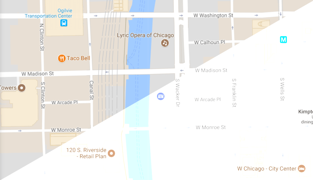 Split screen example depicting how Google maps looks when viewed on a computer with an increased display contrast setting.