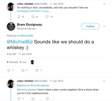 A screenshot of the Twitter.com interface, where Michiel links to a blog post containing a promise of whisky. Bram Duvigneau takes him up on it.