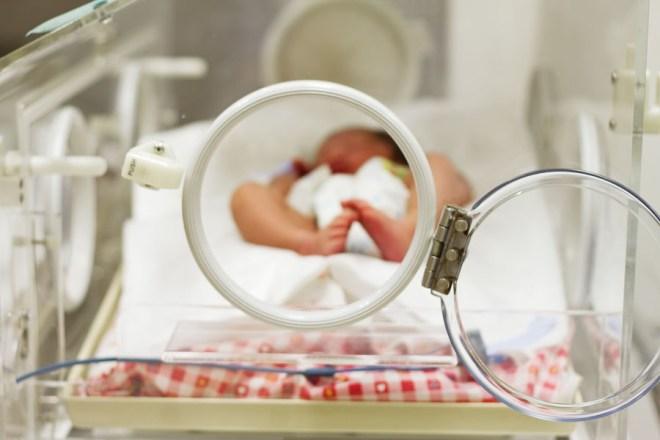 Een baby ligt na een vroeggeboorte in een couveuse