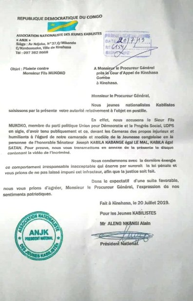 Plainte contre Fils Mukoko