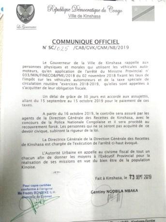 Kinshasa - Un moratoire sur le recouvrement forcé de la vignette
