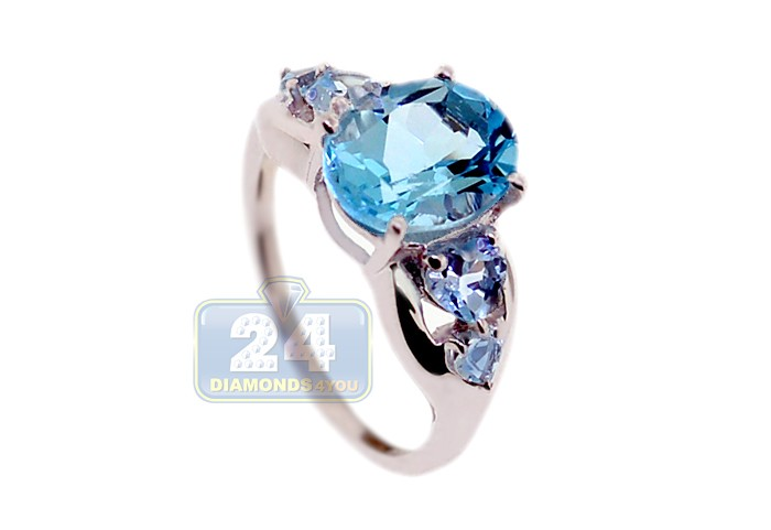 925 Sterling Silver 431 Ct Blue Topaz Womens Ring